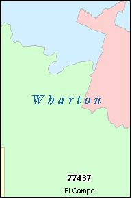 WHARTON County, TX ZIP Code Map
