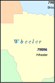WHEELER County, TX ZIP Code Map