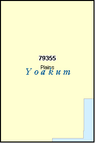 YOAKUM County, TX ZIP Code Map