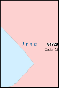 IRON County, UT ZIP Code Map