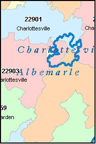 ALBEMARLE County, VA ZIP Code Map