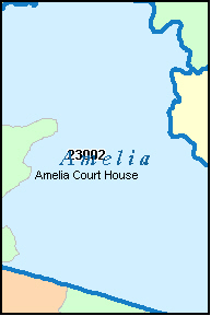 AMELIA County, VA ZIP Code Map