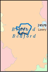 BEDFORD County, VA ZIP Code Map