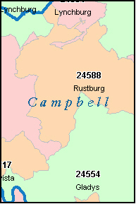 CAMPBELL County, VA ZIP Code Map