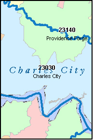 CHARLES CITY County, VA ZIP Code Map