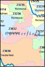 Zip Code Map Of Virginia.Zip Code Map With Boundaries Of Virginia Creativehobby Store