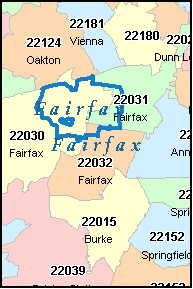 Fairfax County Virginia Digital Zip Code Map