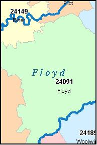 FLOYD County Virginia Digital ZIP Code Map