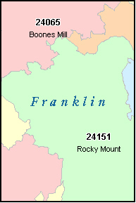 FRANKLIN County, VA ZIP Code Map