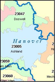 Interactive Map of ZIP Codes in Hanover, Ohio.