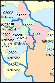 HENRICO County, VA ZIP Code Map