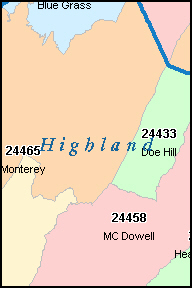 HIGHLAND County, VA ZIP Code Map