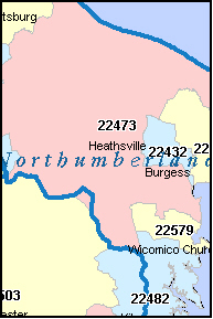 NORTHUMBERLAND County, VA ZIP Code Map