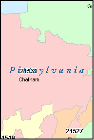 CHATHAM Virginia, VA ZIP Code Map