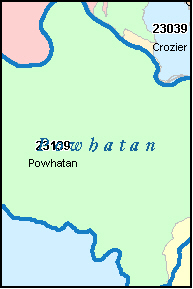 POWHATAN County, VA ZIP Code Map