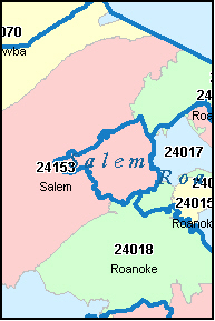SALEM County, VA ZIP Code Map