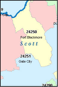 GATE CITY Virginia, VA ZIP Code Map