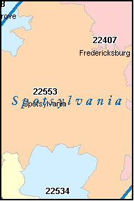 SPOTSYLVANIA County, VA ZIP Code Map