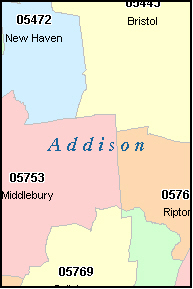 ADDISON County, VT ZIP Code Map