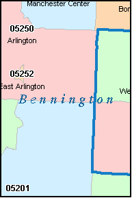 BENNINGTON County, VT ZIP Code Map