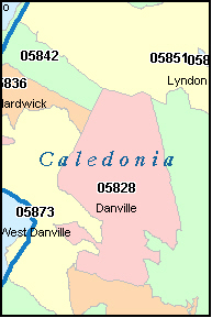 CALEDONIA County, VT ZIP Code Map