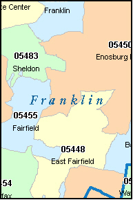 FRANKLIN County, VT ZIP Code Map