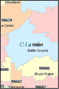 CLARK County, WA ZIP Code Map