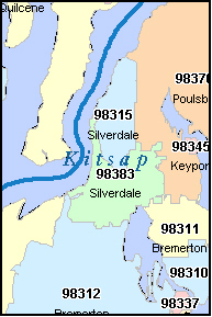 KITSAP County, WA ZIP Code Map