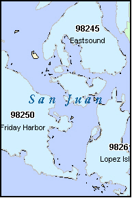 SAN JUAN County, WA ZIP Code Map