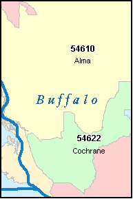 BUFFALO County, WI ZIP Code Map