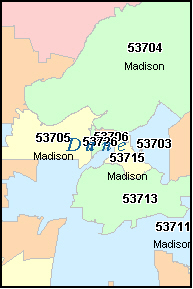 DANE County, WI ZIP Code Map