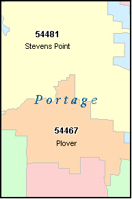 PORTAGE County, WI ZIP Code Map