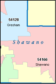SHAWANO County, WI ZIP Code Map