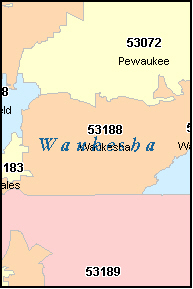 WAUKESHA County, WI ZIP Code Map