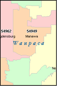 WAUPACA County, WI ZIP Code Map