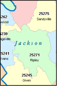 JACKSON County, WV ZIP Code Map