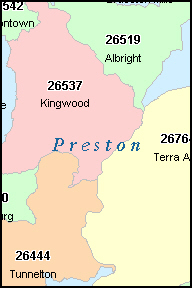 PRESTON County, West Virginia Zip Code Map, WV