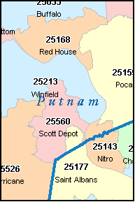 BUFFALO West Virginia, WV ZIP Code Map