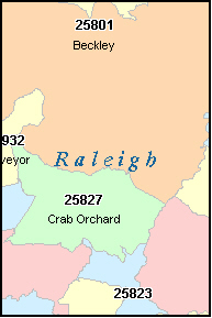 RALEIGH County, WV ZIP Code Map