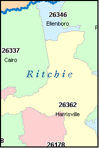 RITCHIE County, WV ZIP Code Map