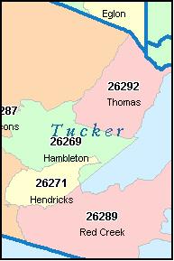 Tucker county west virginia digital zip code map
