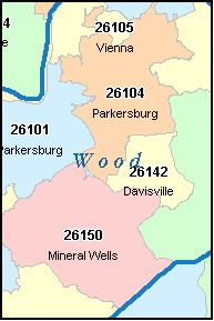 MINERAL WELLS West Virginia, WV ZIP Code Map