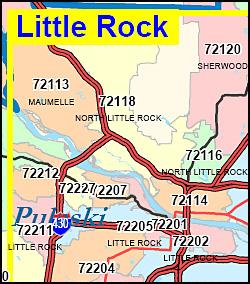 Arkansas ZIP Code Map Including County Maps