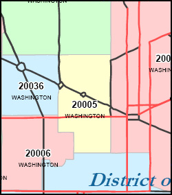 District of Columbia ZIP Code Map