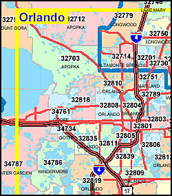 Orlando Florida Area Code Map.Orlando Zip Code Map Fl Zip Code Map