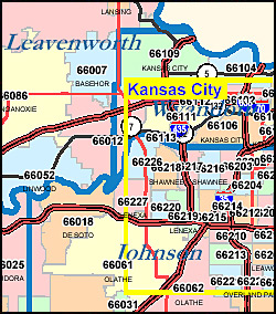 Kansas ZIP Code Map