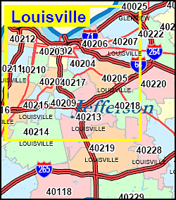 Kentucky ZIP Code Map