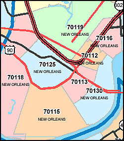 Louisiana ZIP Code Map