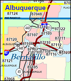 New Mexico ZIP Code Map including County Maps