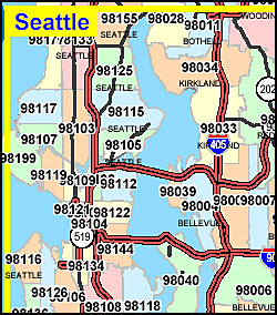 Washington ZIP Code Map Including County Maps